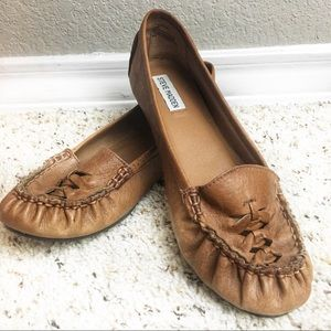 Steve Madden Macyn Flat Brown Leather Shoes Loafer